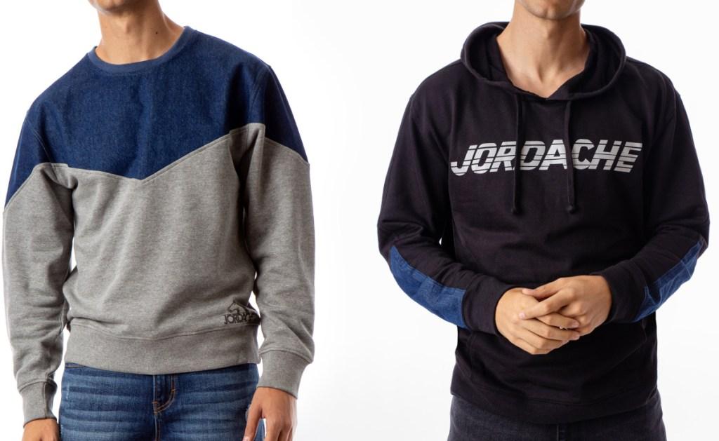 two men wearing sweatshirts in different styles