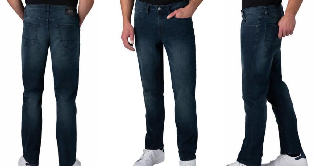 3 men wearing izod jeans