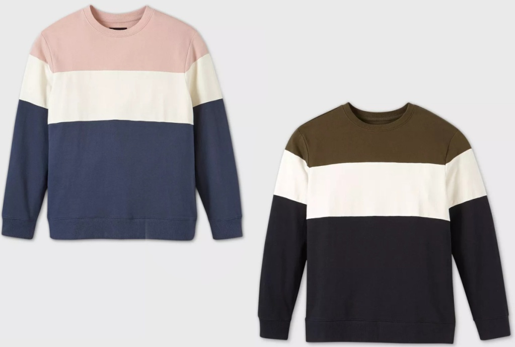 two styles of mens sweaters
