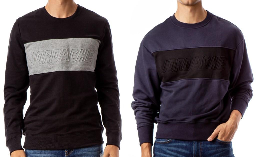 Two men wearing vintage sweatshirts