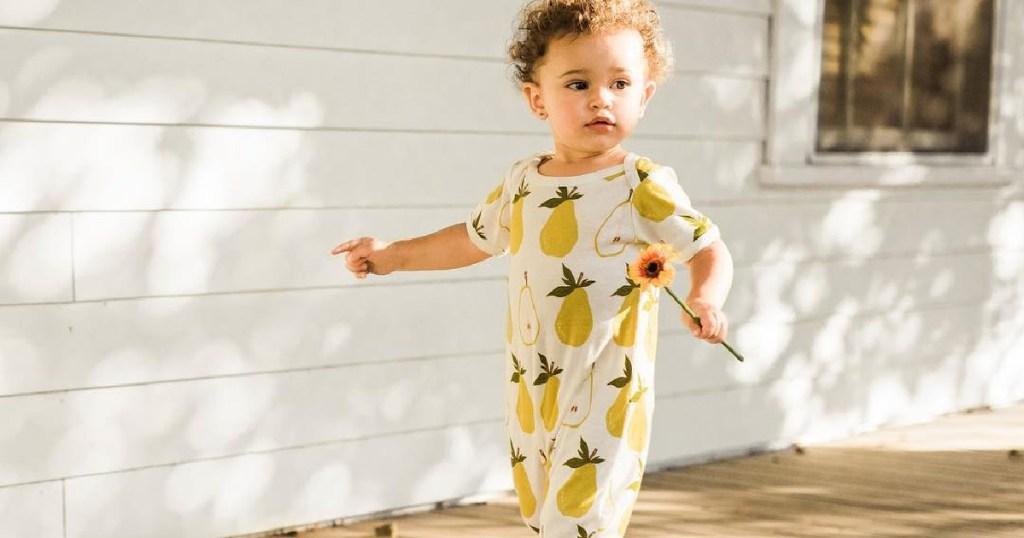 Milkbarn White & Yellow Pears Organic-Cotton Playsuit