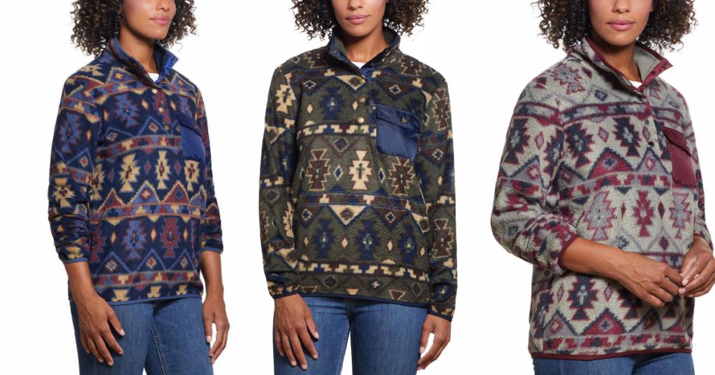 Models wearing Fleece Pullovers Costco