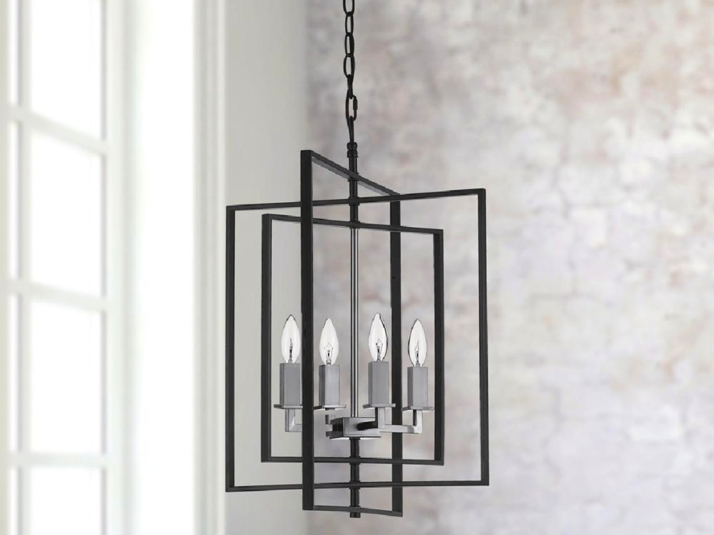 Monteaux Lighting 4-Light Black and Brushed Nickel Caged Chandelier with Metal Shade