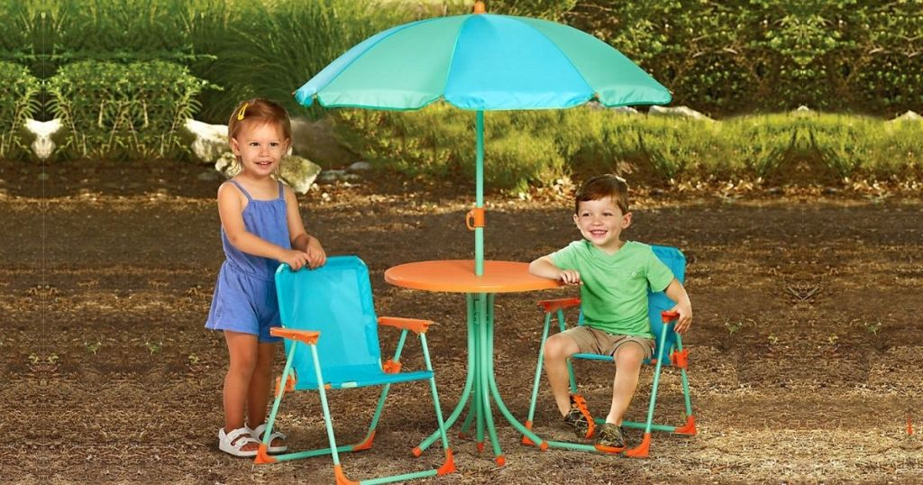 kids patio table and chair set with umbrella