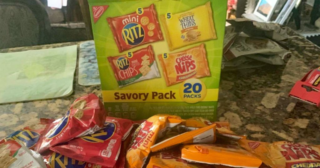 variety pack box of nasbico savory cracker packs