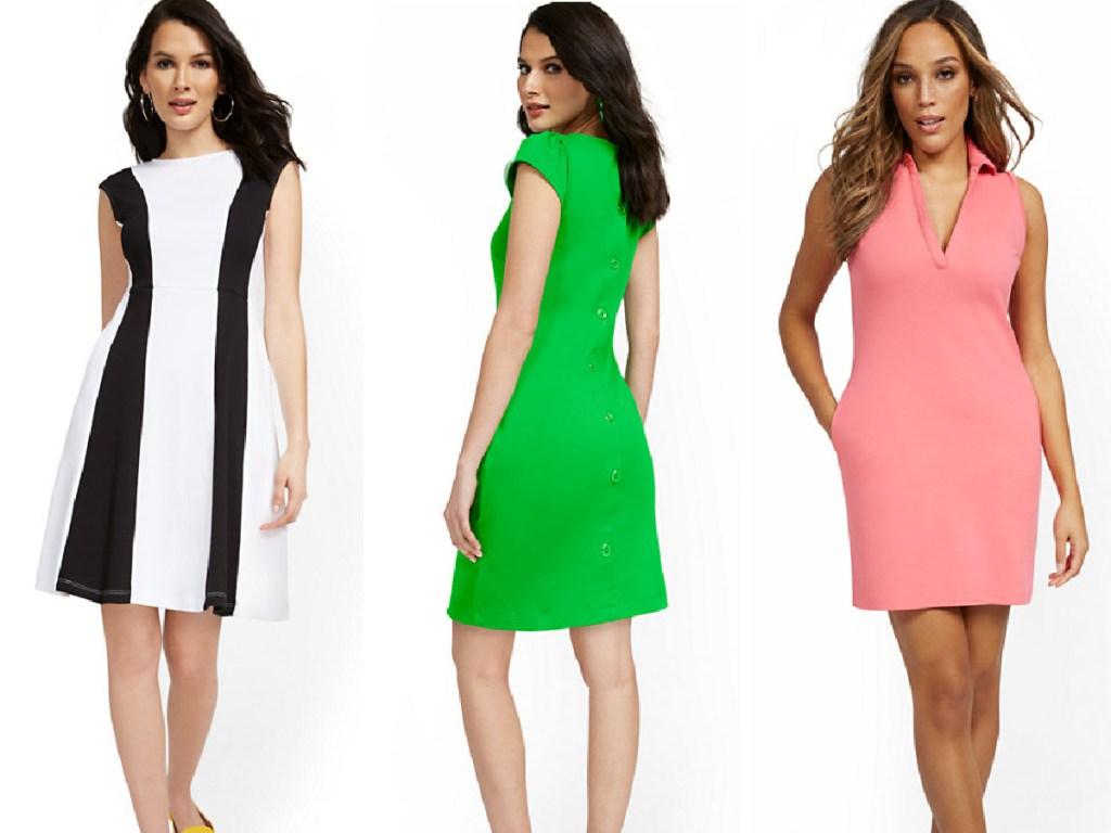 3 women wearing new york & company dresses