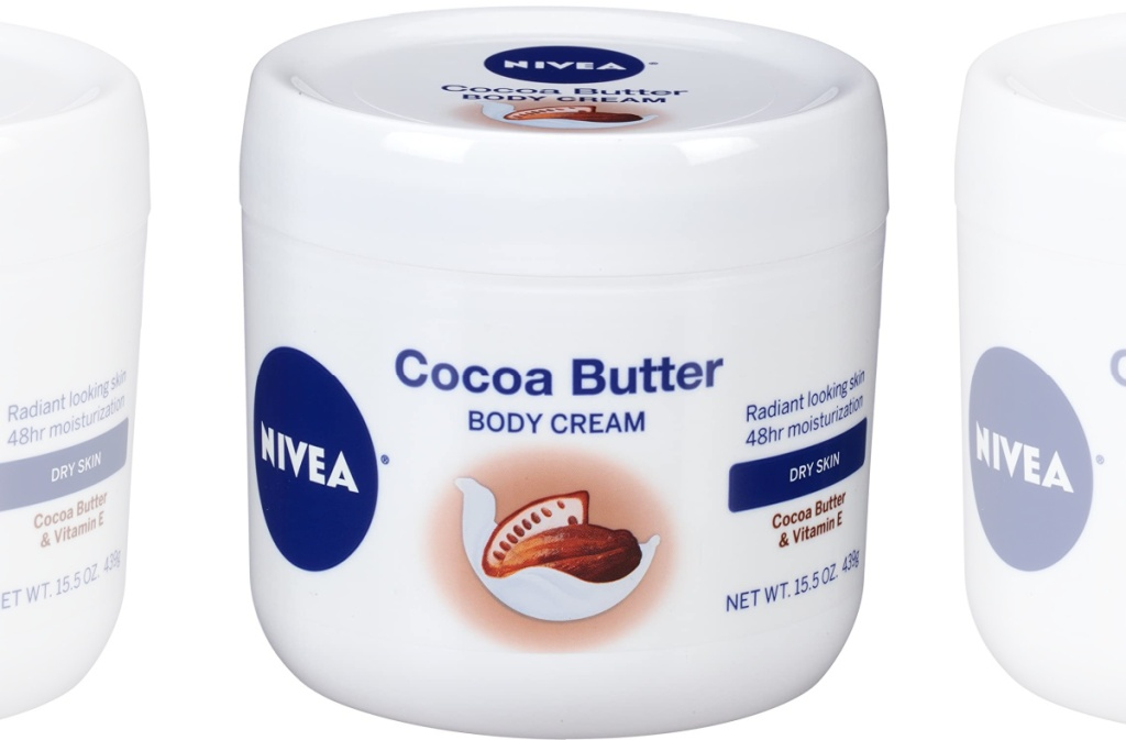 large tub of cocoa butter cream