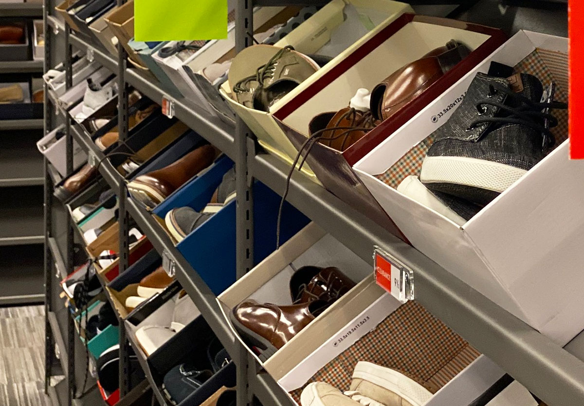 rack full of shoes on clearance