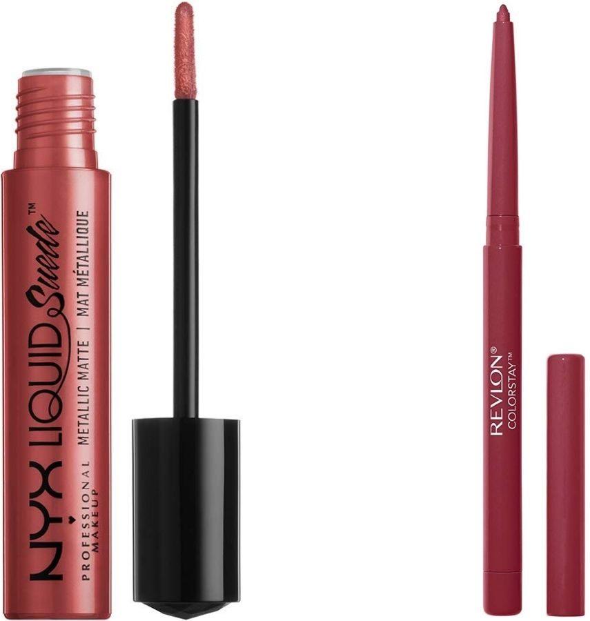 Nyx Liquid Suede Liquid Lipstick and Revlon Colorstay Lipliner