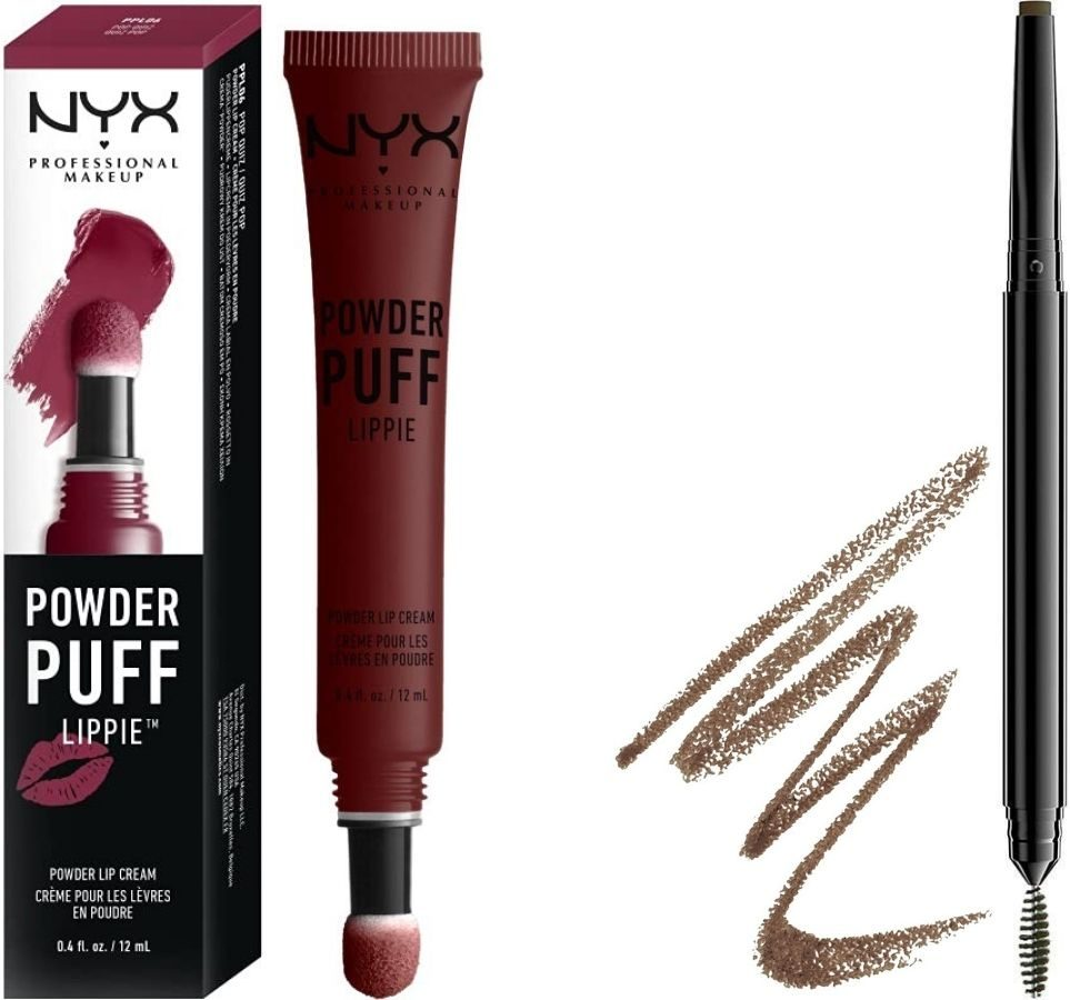 Nyx Powder Puff Lippie and Espresso Eyebrow Brush