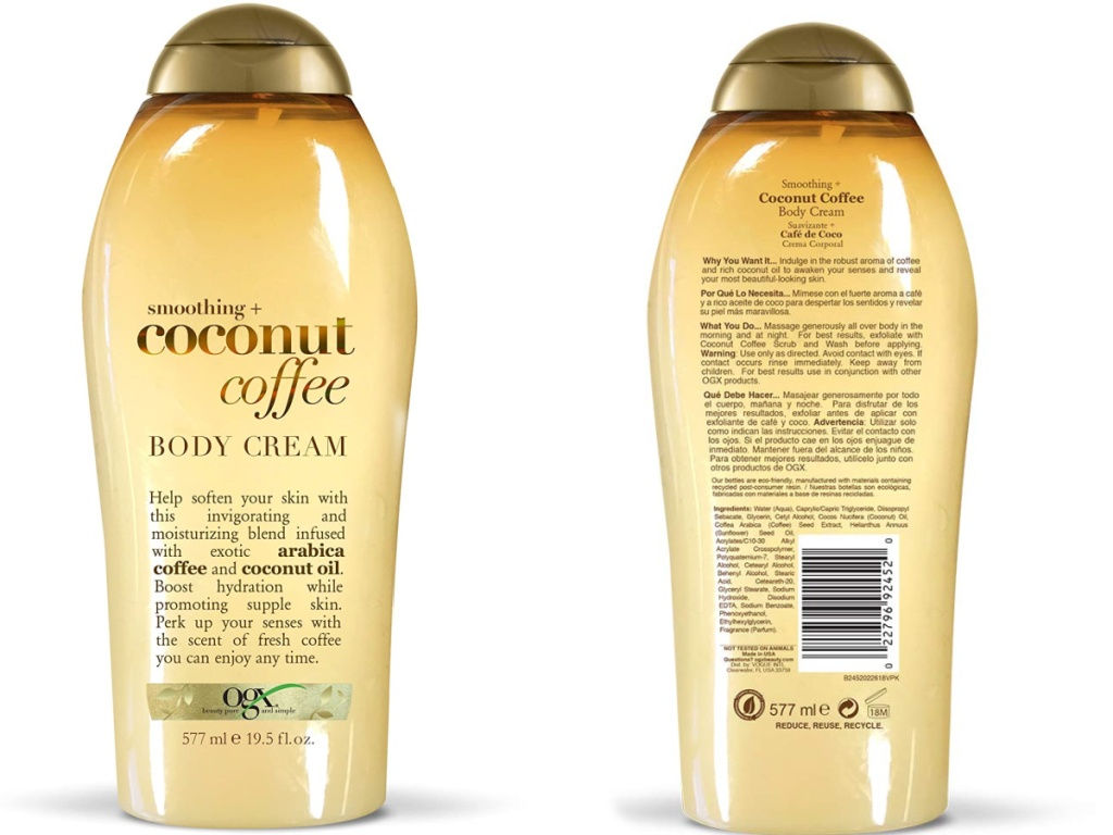OGX Smoothing + Coconut Coffee Body Cream front and back