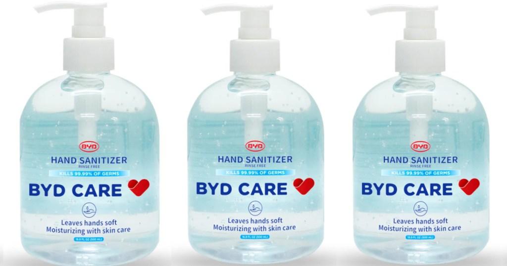 3 bottles of byd hand sanitizer