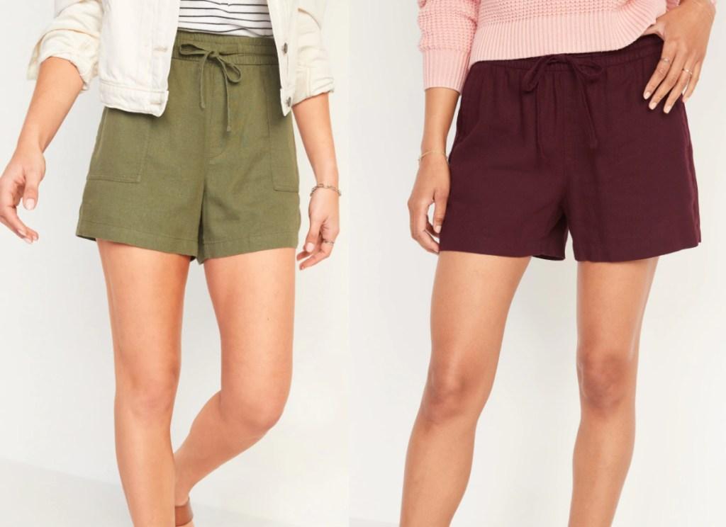 women wearing old navy linen blend shorts