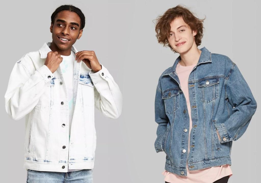 two styles of men's denim jackets