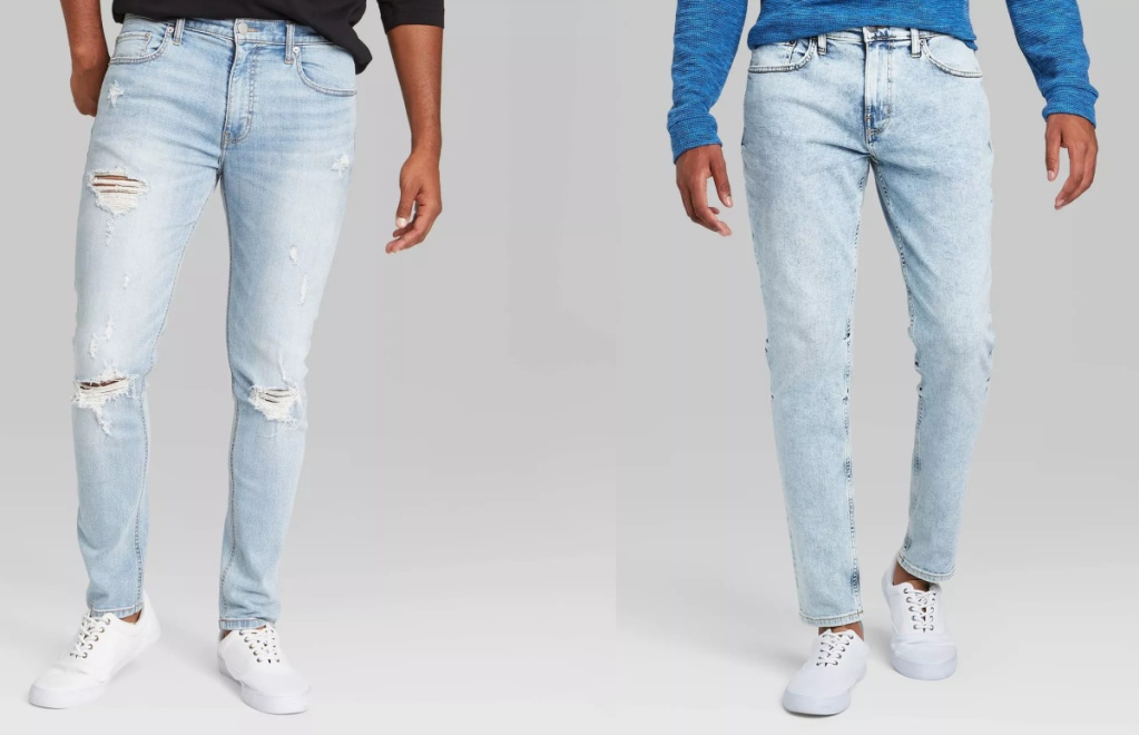 two styles of men's jeans