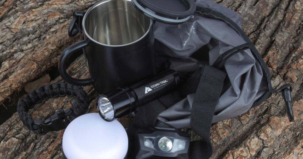 a variety of camping tools