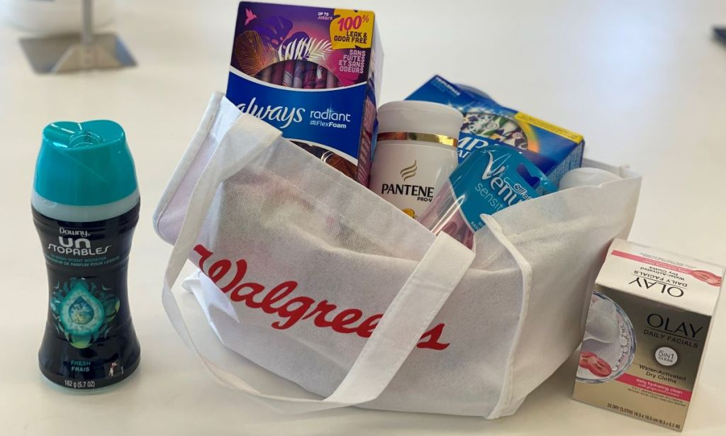 Walgreens bag with P&G products
