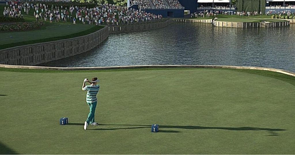 person playing golf on video game