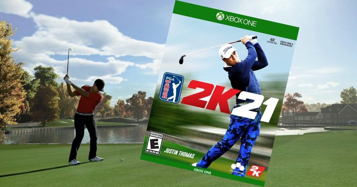 XBOX One 2K21 video game with guy playing golf in video game in background