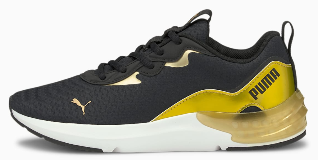 black, gold and white sneaker