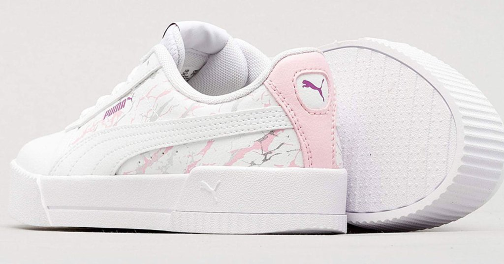 white puma sneaker with pink marble details