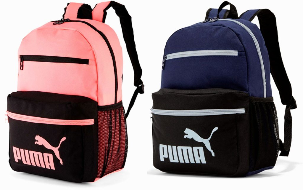 two puma backpacks in pink and blue
