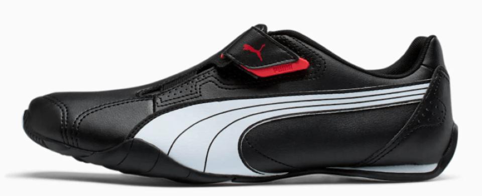 black, white and red PUMA shoe
