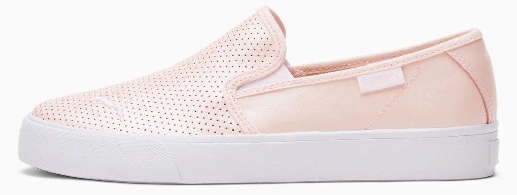 metallic pink slip on sneaker
