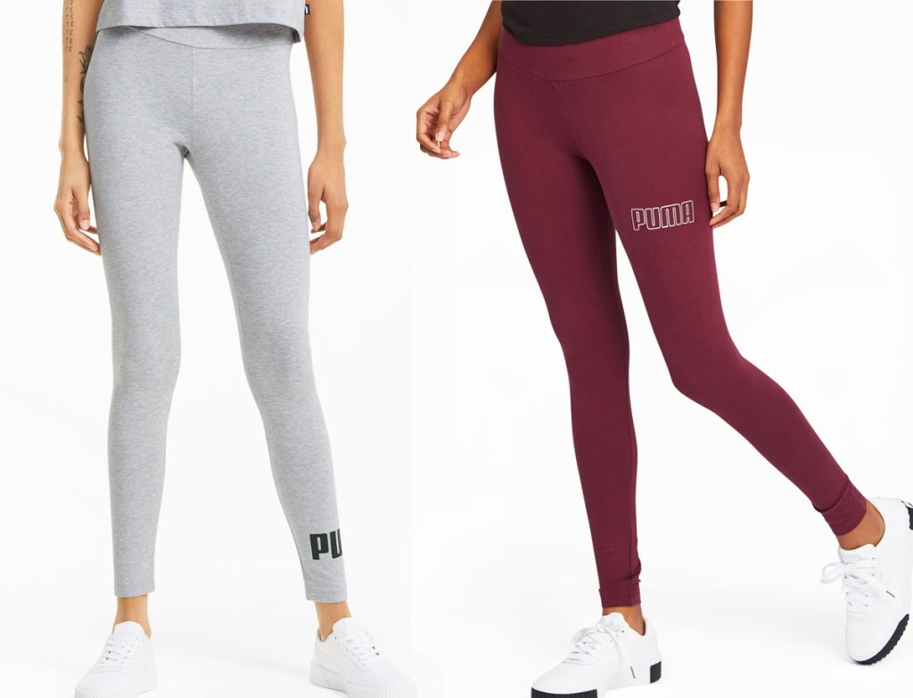 two women in grey and maroon colored puma leggings
