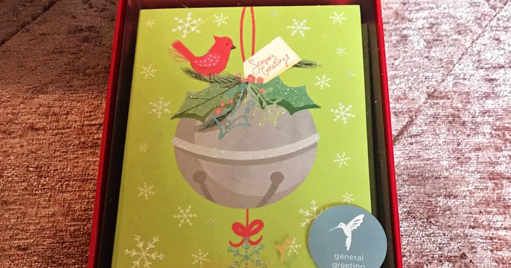 box of Christmas cards with jingle bell design
