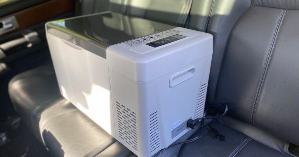 portable fridge in a car