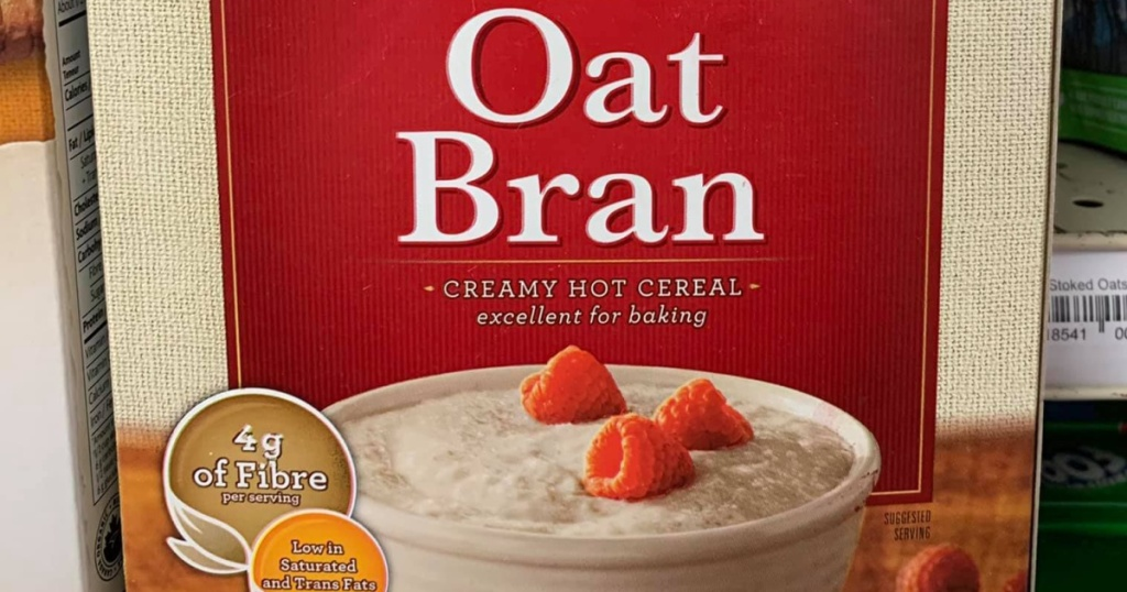 box of oat bran hot cereal on store shelf