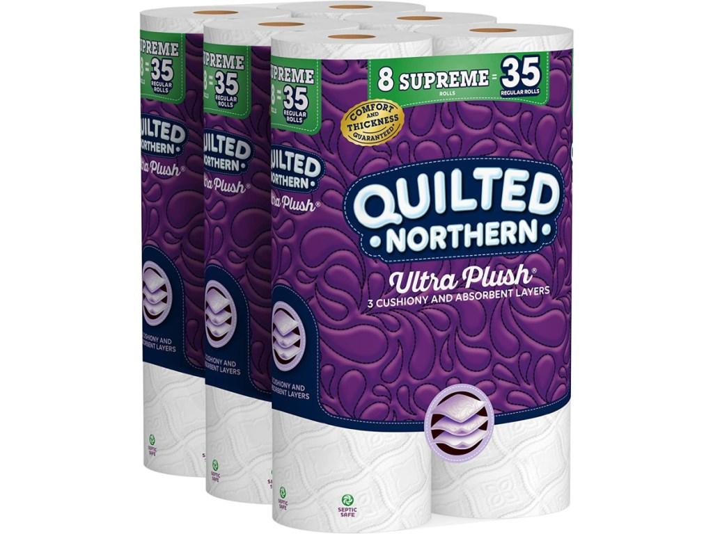 three packs of toilet paper