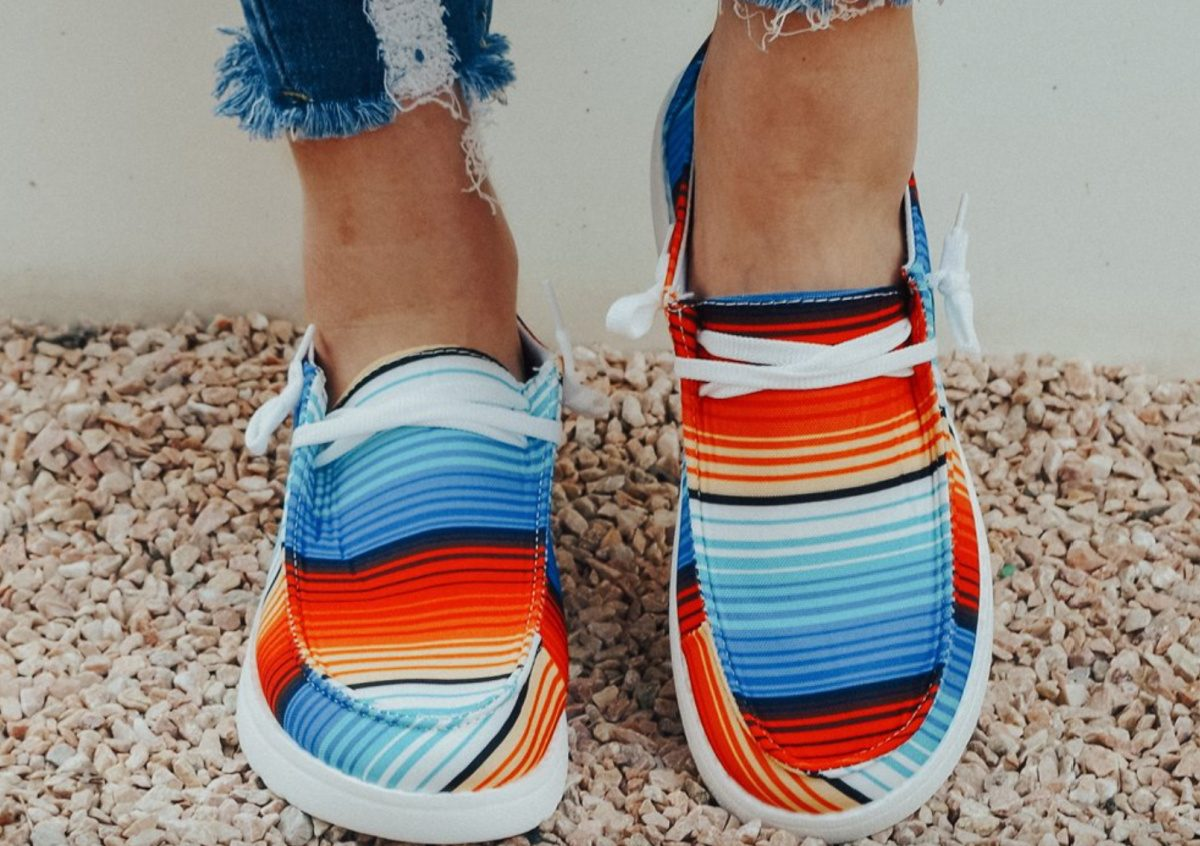 ROSY striped boat shoes on feet