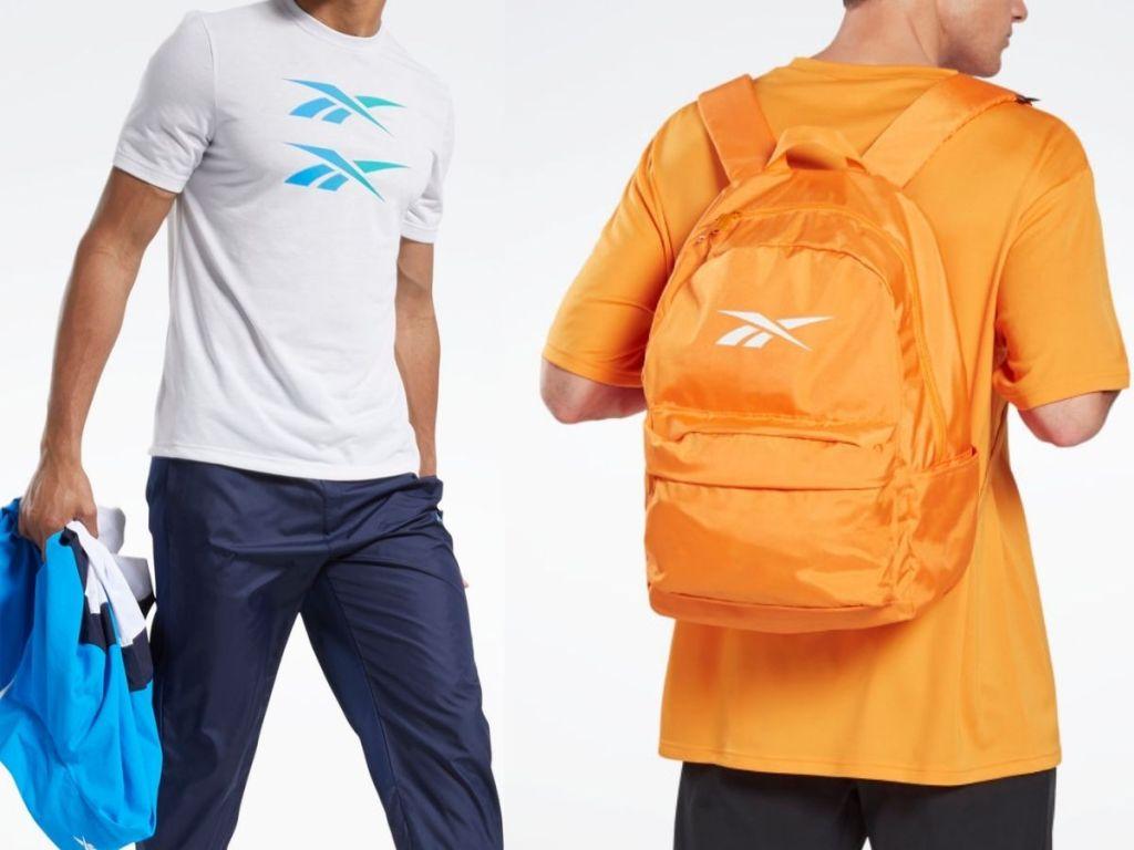 man wearing reebok shirt and backpack