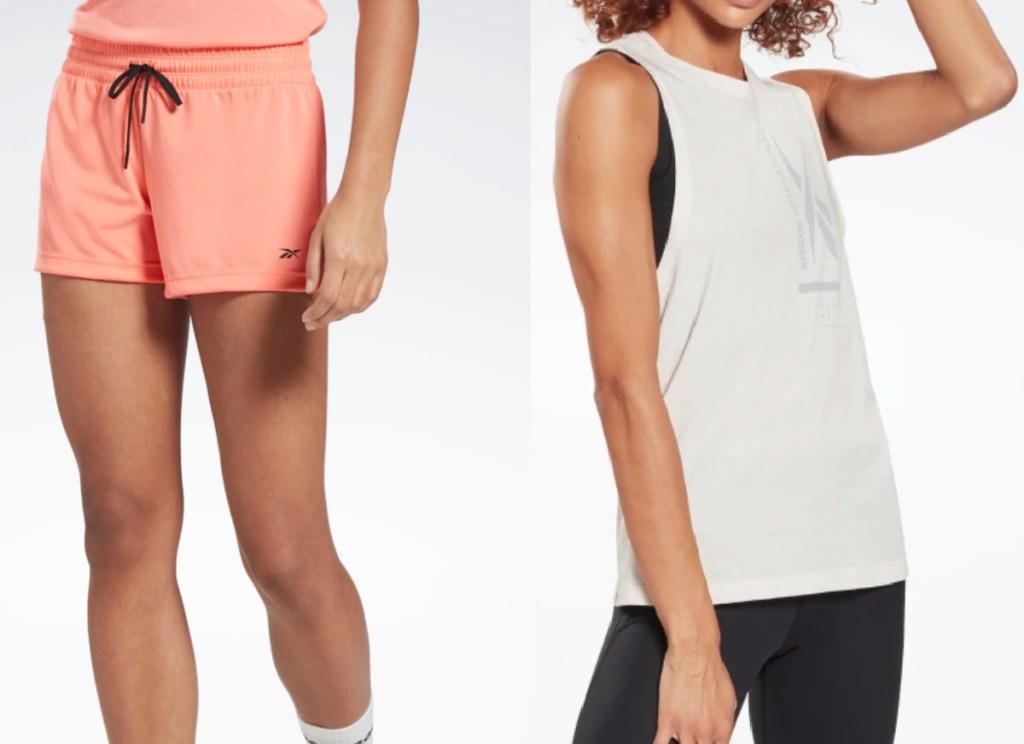 reebok women's shorts and tank top