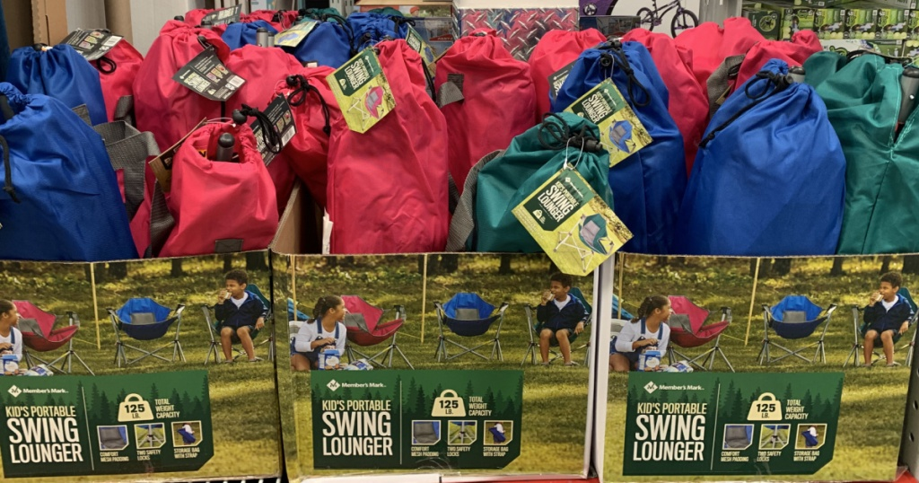 kids swinging chairs in store at sam's club