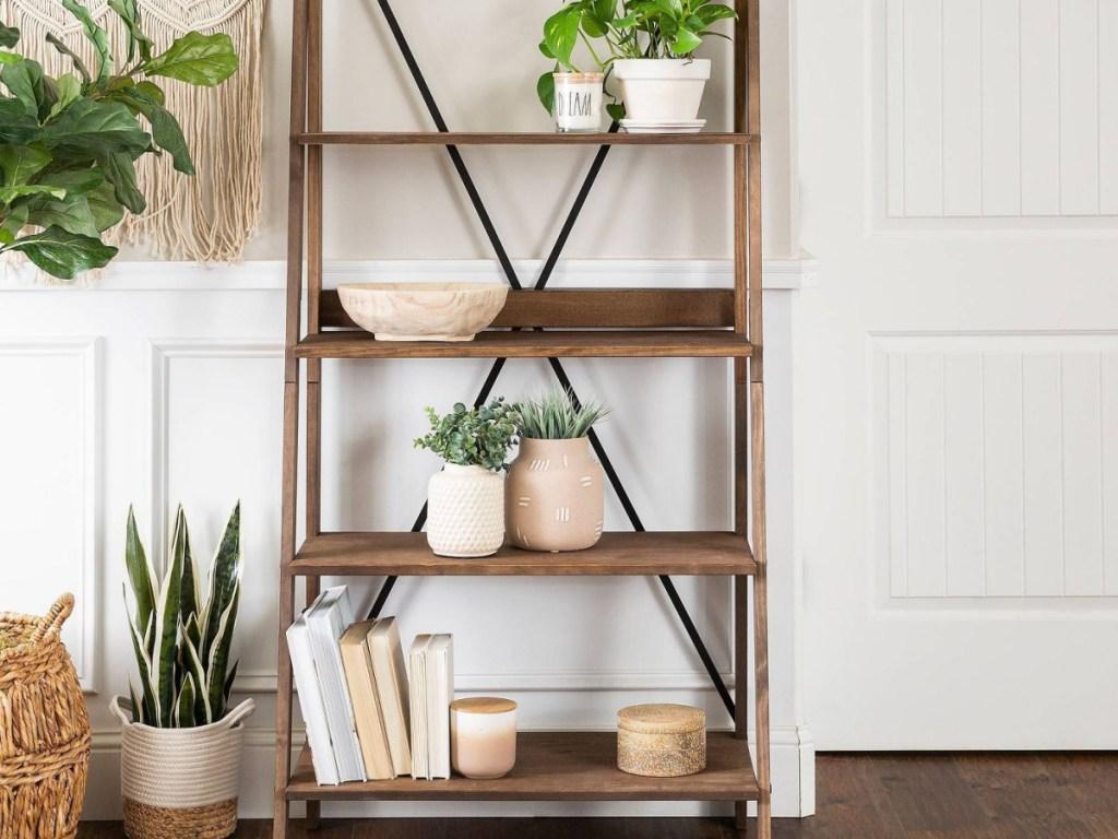 Saracina Home Ivy Boho 4 Tier Solid Wood Ladder Bookshelf