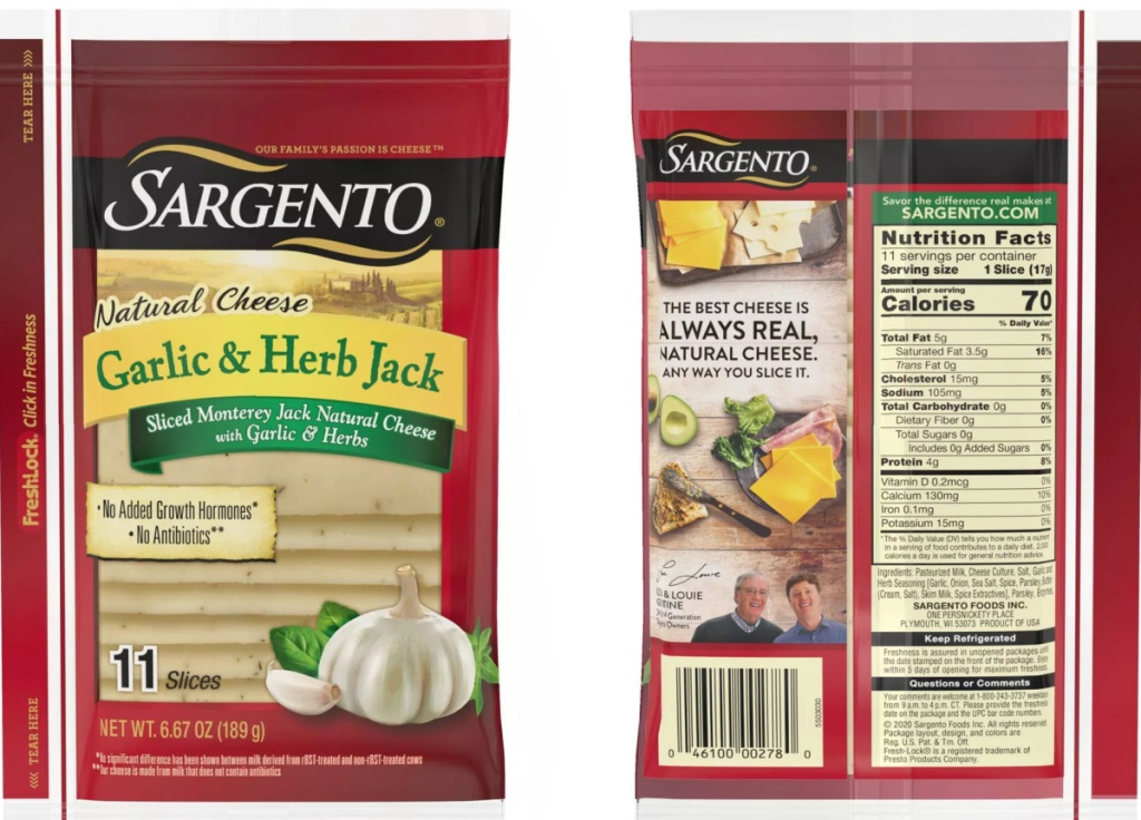 front and back view of sargento cheese slices