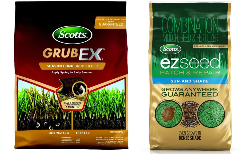 two bags of scotts lawn care products