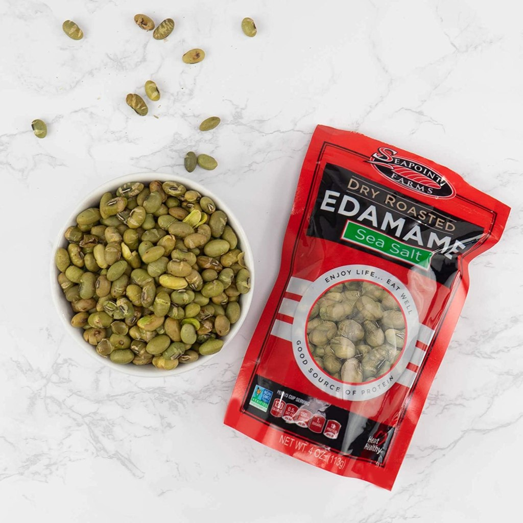 Seapoint Dry Roasted Edamame in a bowl next to a bag