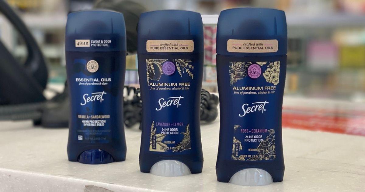 3 Secret Deodorants w/ Essential Oils