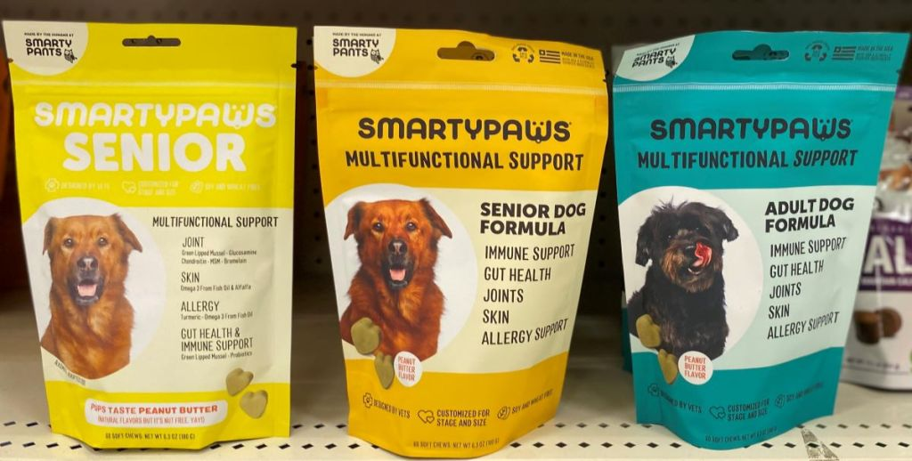 row of SmartyPaws dog supplements on a shelf at Target