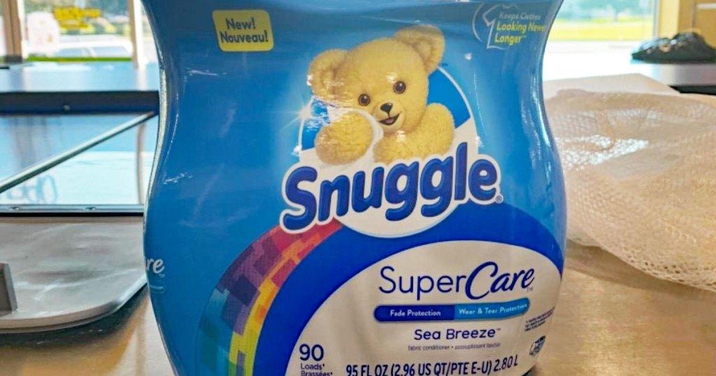 large blue bottle of snuggle fabric softener