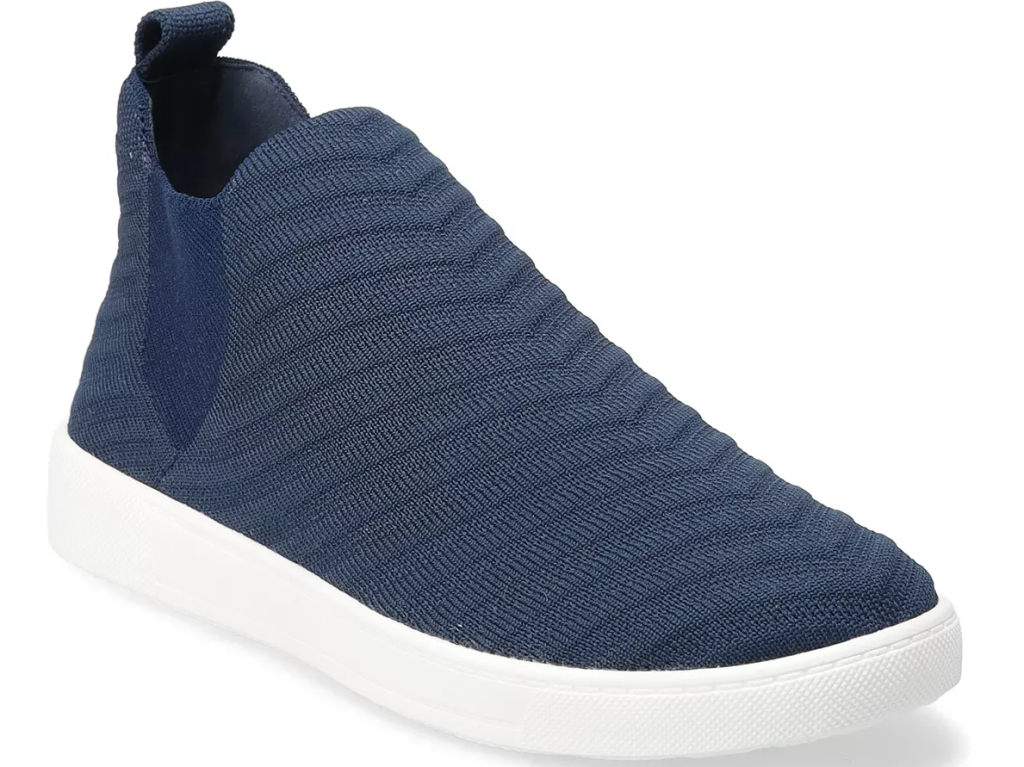 blue and white sneaker boot