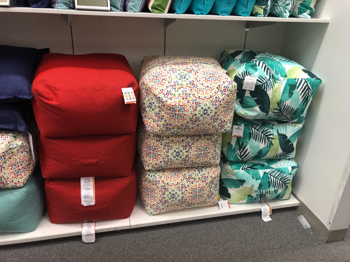 cushion poofs on display in-store