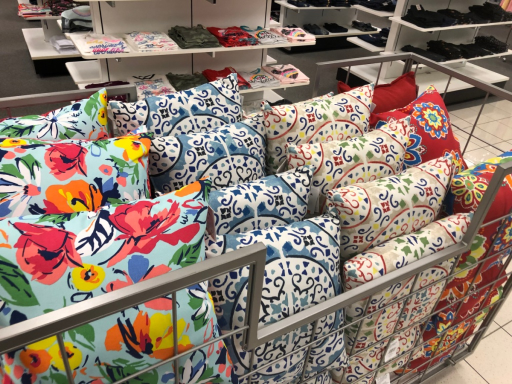 in store display of throw pillows