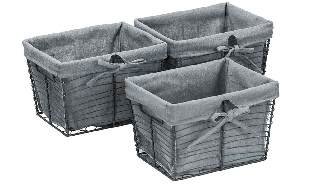 set of three metal baskets with fabric lining