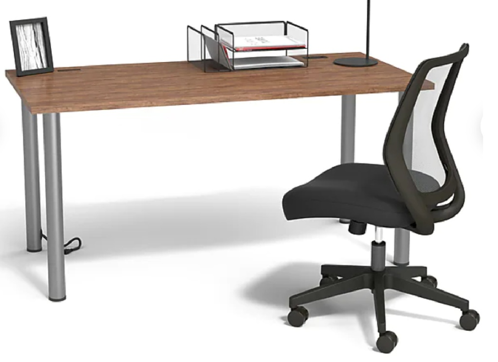 staples office chair next to a desk