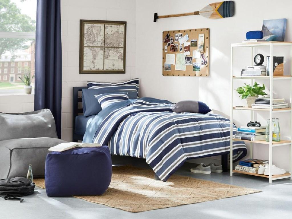 blue metal twin platform bed in bedroom